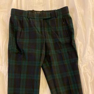 Dark green plaid pants ankle length